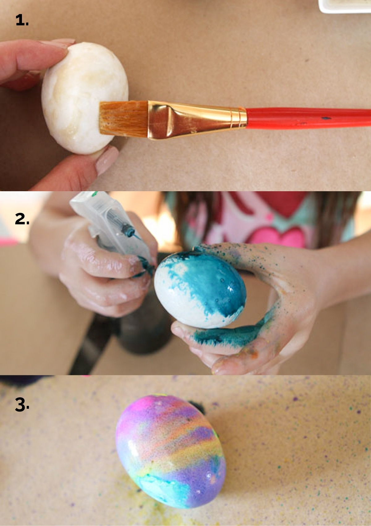 applying watercolors to hardboiled eggs to create watercolor Easter eggs